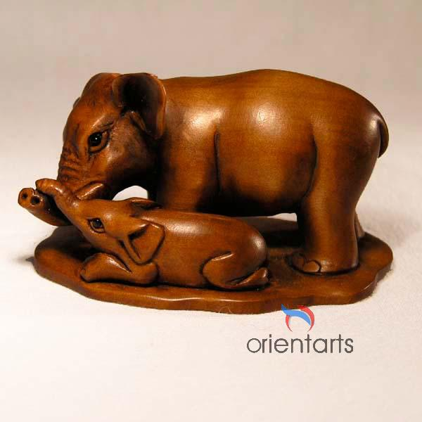 Boxwood Netsuke 2 Elephants