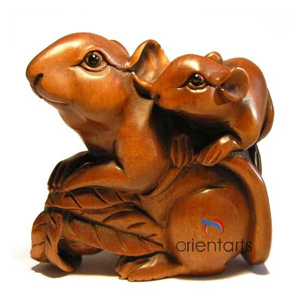 Boxwood Netsuke Mouses