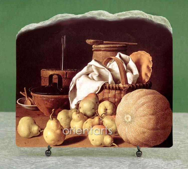 Still Life With Oranges And Walnuts by Luis Melendez Oil Painting Reproduction on Marble Slab