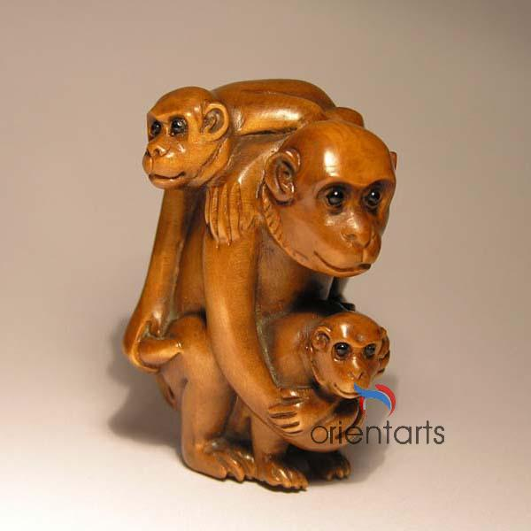 Wood Netsuke 3 Monkeys