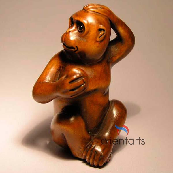 Wood Netsuke Monkey