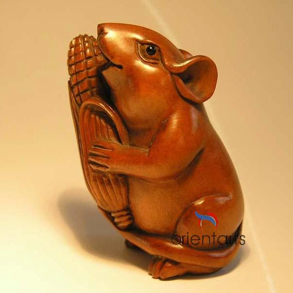 Wood Netsuke Mouse Eating Corn