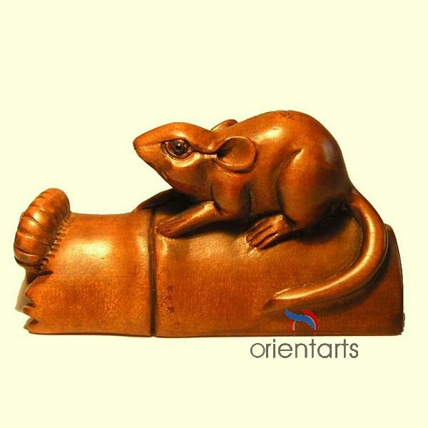 Wood Netsuke Mouse on Bamboo