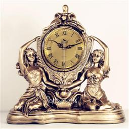 2 Ladies Statue Resin Tabletop Clock