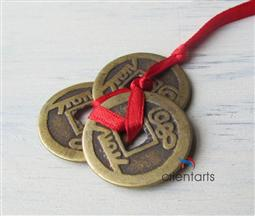 3 I Ching Coins Tied In Red Ribbon