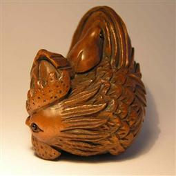 Boxwood Netsuke Cock and Chick