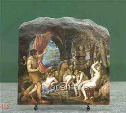 Diana and Actaeon by Tiziano Vecellio Oil Painting Reproduction on Marble Slab