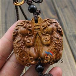 Double Pi Yao Rosewood Carving Mystic Knot for Feng Shui