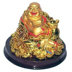 Golden Laughing Buddha with Ingot for Wealth Feng Shui
