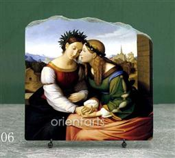Italia and Germania by Overbeck Friedrich Oil Painting Reproduction on Marble Slab