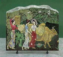 Ladies in Countryside Chinese Painting Reproduction on Marble Slab
