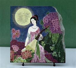 Lady in Moonlight Chinese Painting Reproduction on Marble Slab