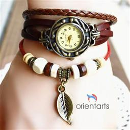 Leaf Bracelet leather Rivet Stud Watch