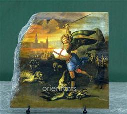 "Oil Painting ""Sao Miguel Arcanjo"" by Raffaello Sanzio Replica on Stone"