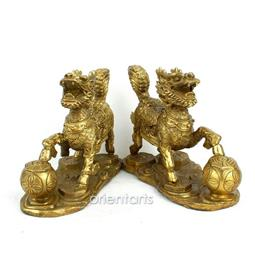 Pair of Brass Pi Yao for Good Luck Feng Shui
