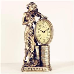 Playing Violin Lady Statue Resin Tabletop Clock