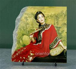 Red Cheongsam Lady Chinese Painting Reproduction on Marble Slab