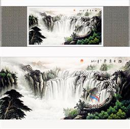 The Waterfall Landscape Silk Painting