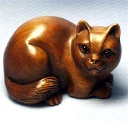 Wood Netsuke Cat