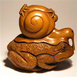 Wood Netsuke Snail on Frog