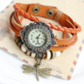 Adjustable Beaded Dragonfly Bracelet Leather Watch