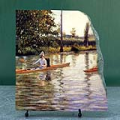 Boating on the Yerres by Gustave Caillebotte Oil Painting Reproduction on Marble Slab