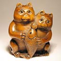 Boxwood Netsuke 2 Cats and Fish