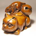 Boxwood Netsuke Mouse on Cat