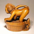 Boxwood Netsuke Sexy Women with Frog