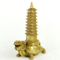 Brass Feng Shui Pagoda on Dragon Head Tortoise
