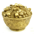 Brass Feng Shui Treasure Bowl Coins Bank with Nine Dragons