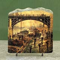 Coal Dockers by Claude Monet Oil Painting Reproduction on Marble Slab