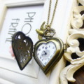 Heart Shape with Rose Flower Metal Pocket Watch