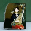 Lady Playing Pipa Chinese Painting Reproduction on Marble Slab