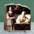 Lady Writing a Letter by Johannes Vermeer Oil Painting Reproduction on Marble Slab