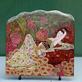 Lady in Flower Chinese Painting Reproduction on Marble Slab