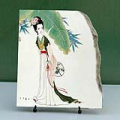 Lady under Banana Chinese Painting Reproduction on Marble Slab