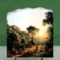 Landscape near Tivoli with Vintager Scens by Marko Karoly Oil Painting Reproduction on Marble Slab