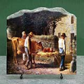 Peasants Bringing Home a Calf Born in the Fields by Jean Francois Millet Oil Painting Reproduction on Marble Slab