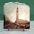 Piazza San Marco Looking South West by Canaletto Oil Painting Reproduction on Marble Slab