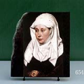 Portrait of a Woman by Robert Campin Oil Painting Reproduction on Marble Slab