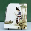 Reading Lady in Garden Chinese Painting Reproduction on Marble Slab