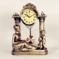 Roman Column and Figure Statue Desktop Clock