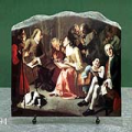 Saint Elizabeth with the Virgin Mary by Gaspare Traversi Oil Painting Reproduction on Marble Slab