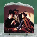 The Cardsharps by Michelangelo Merisi da Caravaggio Oil Painting Reproduction on Marble Slab