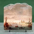 The Island of San Michele Looking toward Murano by Caspar van Wittel Oil Painting Reproduction on Marble Slab