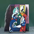Women with Book by Picasso Pablo Ruiz Oil Painting Reproduction on Slate