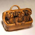 Wood Netsuke 3 Dogs on Box