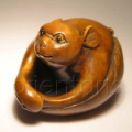 Wood Netsuke Bat