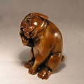 Wood Netsuke Dog